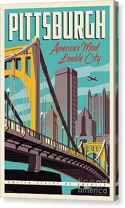 Yellow Building Canvas Print - Vintage Style Pittsburgh Travel Poster by Jim Zahniser