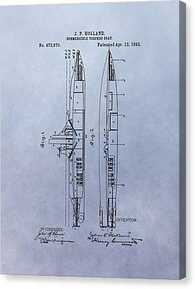 Us Navy Canvas Print - Vintage Submarine Boat Patent by Dan Sproul