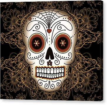 Vintage Sugar Skull Canvas Print by Tammy Wetzel