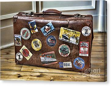 Canvas Print featuring the photograph Vintage Suitcase With Labels by Craig B