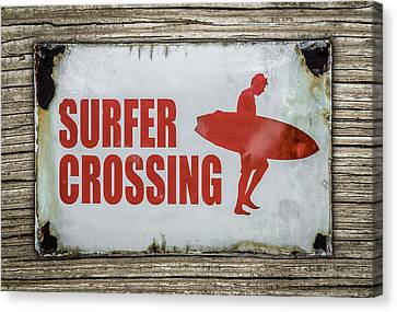 Vintage Surfer Crossing Sign On Wood Canvas Print by Mr Doomits