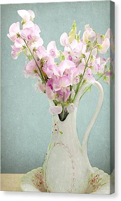 Canvas Print featuring the photograph Vintage Sweet Peas In A Pitcher by Peggy Collins