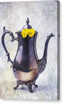 Vintage Teapot With Pansies  Canvas Print by Garry Gay