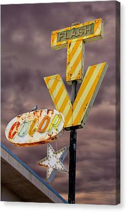 Vintage Television Sign Canvas Print by Henry Kowalski