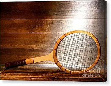 Vintage Tennis Racket Canvas Print by Olivier Le Queinec