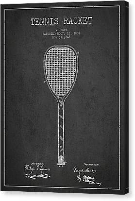 Vintage Tennnis Racket Patent Drawing From 1887-dark Canvas Print by Aged Pixel