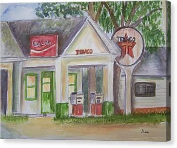 Vintage Texaco Gas Station Canvas Print by Belinda Lawson