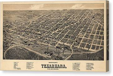 Vintage Texarkana Map Canvas Print by Dan Sproul
