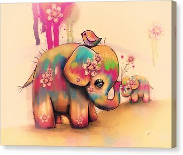 Dye Canvas Print - Vintage Tie Dye Elephants by Karin Taylor