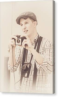 Vintage Tourist Taking Photograph Souvenirs Canvas Print