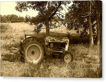 Vintage Tractor In Sepia Canvas Print by Cynthia Lassiter