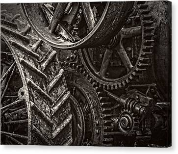 Gears  - Black And White Canvas Print by F Leblanc
