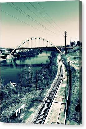 Vintage Train Tracks In Nashville Canvas Print by Dan Sproul