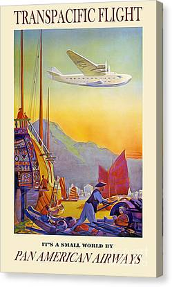 Vintage Transpacific Flight Travel Poster Canvas Print by Jon Neidert