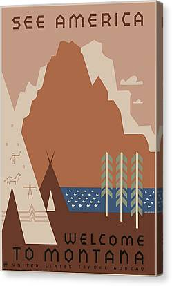 Vintage Travel - See America - Montana Canvas Print by Georgia Fowler
