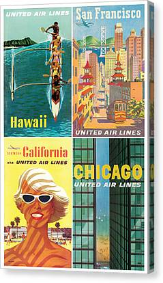 Vintage Travel - United Airlines Canvas Print by Georgia Fowler