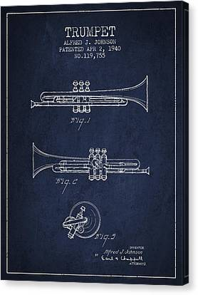 Vintage Trumpet Patent From 1940 - Blue Canvas Print by Aged Pixel