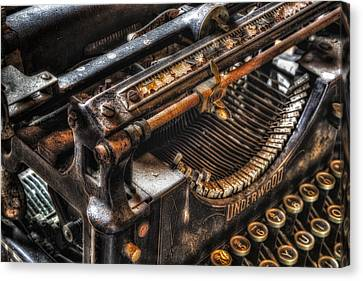 Typewriter Canvas Print - Vintage Underwood Typewriter by Susan Candelario