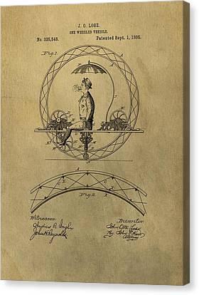 Vintage Unicycle Patent Canvas Print