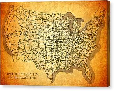 Vintage United States Highway System Map On Worn Canvas Mixed