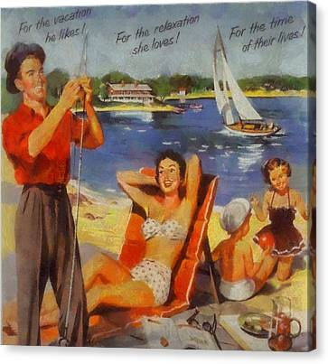Vintage Vacation Poster Canvas Print