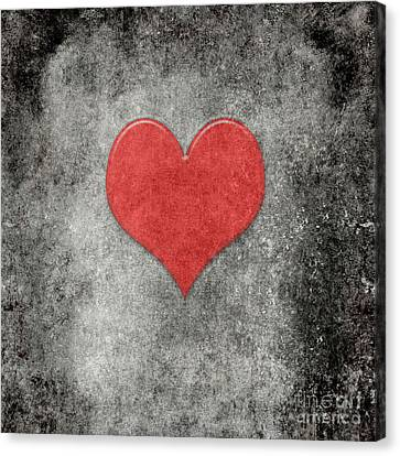 Vintage Valentines Coeur Rouge On Grunge Background Canvas Print by Bruce Stanfield