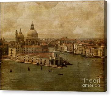 Boats In Water Canvas Print - Vintage Venice by Lois Bryan