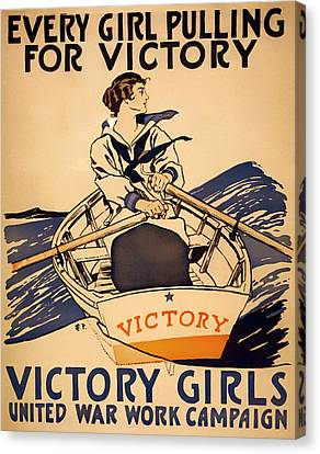 Rowboat Canvas Print - Vintage Victory Girls World War I Poster 1918 by Mountain Dreams