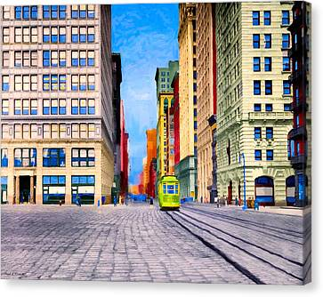 Vintage View Of New York City - Union Square Canvas Print by Mark E Tisdale