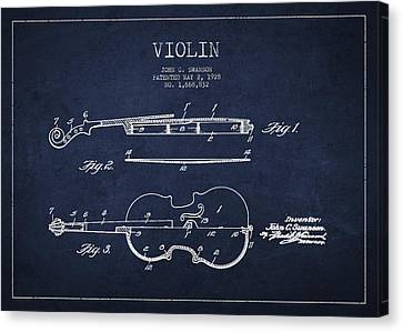 Vintage Violin Patent Drawing From 1928 Canvas Print