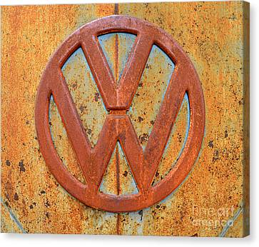 Vintage Volkswagen Bus Logo Canvas Print by Catherine Sherman