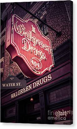 Vintage Walgreen Drugs Store Neon Sign Canvas Print by Edward Fielding