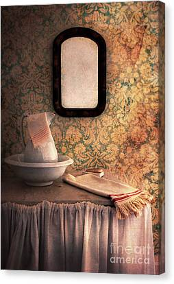 Old Pitcher Canvas Print - Vintage Wash Basin And Pitcher by Jill Battaglia