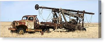 Vintage Water Well Drilling Truck Canvas Print