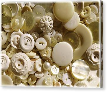 Vintage White Buttons Canvas Print by Carol Groenen