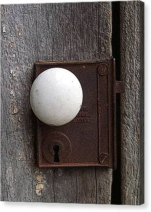 Vintage White Doorknob Canvas Print by TnBackroadsPhotos