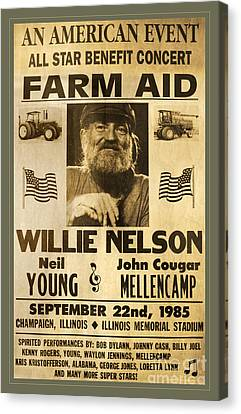 Vintage Willie Nelson 1985 Farm Aid Poster Canvas Print by John Stephens