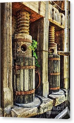Vintage Wine Press Hdr Canvas Print by James Eddy