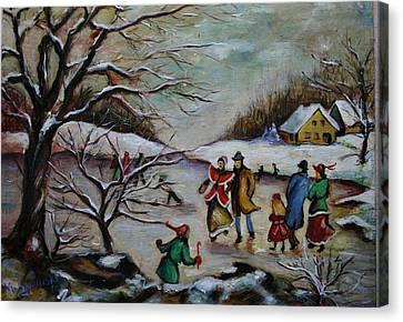 Vintage Winter Scene/skating Away Canvas Print by Melinda Saminski