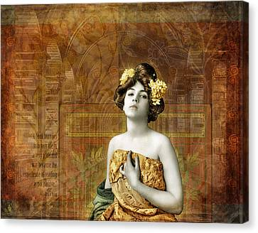 Vintage Woman In Library Canvas Print by Cat Whipple