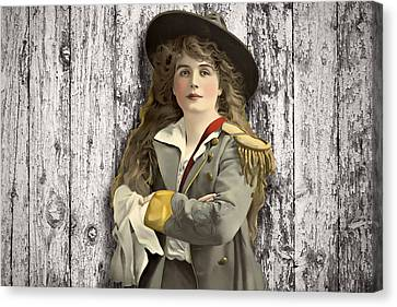 Vintage Woman In Uniform Canvas Print by Peggy Collins