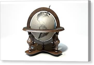Vintage Wooden World Globe Canvas Print