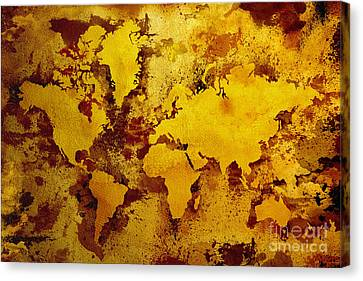 Vintage World Map Canvas Print by Zaira Dzhaubaeva