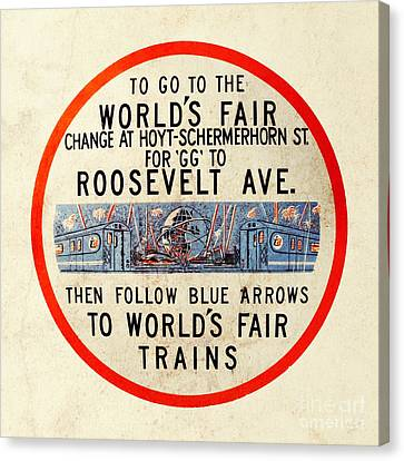 Vintage Worlds Fair New York Subway Sign Canvas Print by Nishanth Gopinathan