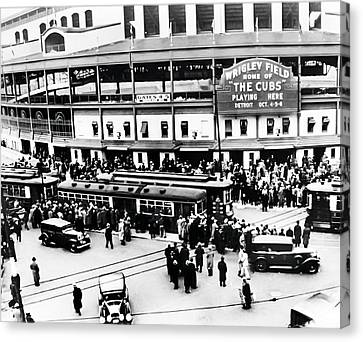 Wrigley Field Canvas Print - Vintage Wrigley Field by Bill Cannon
