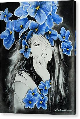 Canvas Print featuring the drawing Violet by Carla Carson