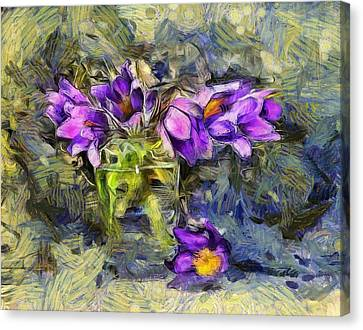 Violet Flowers In Glass Jar Canvas Print