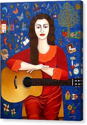 Violeta Parra And The Song Thanks To Life Canvas Print by Madalena Lobao-Tello