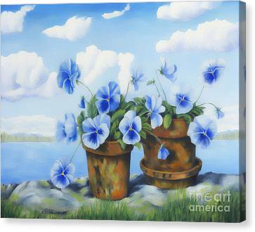 Violets On The Beach Canvas Print by Veikko Suikkanen