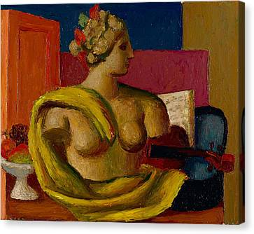 Violin And Bust Canvas Print by Mark Gertler